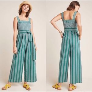 NWT Anthropologie Striped Linen Jumpsuit Green